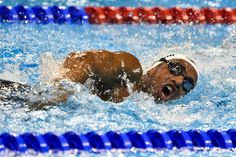 Ibrahim Al Hussein of Syria and team athletes Paralympic Independent, swims the Men's 50m freestyle - S9 Preliminary during the Paralympic Games at the Olympic Aquatics Stadium on September 13, 2016 in Rio de Janeiro, Brazil.