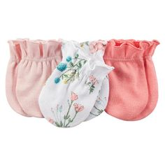 Carter's Girls 3 Pack Assorted Solid Light Pink/Solid Pink/White Flower Printed Mittens