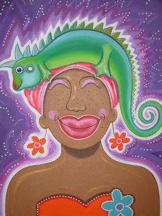 Vrouw met leguaan paars (Señora & Iguana orange)