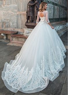 Magbridal Marvelous Tulle Scoop Neckline A-line Wedding Dress With Lace Appliques & Beadings & Belt Wedding Dresses Plus Size, Princess Wedding Dresses, Bridal Wedding Dresses, Dream Wedding Dresses, Gorgeous Wedding Dress, Beautiful Gowns, Wedding Styles, Marie, Ball Gowns