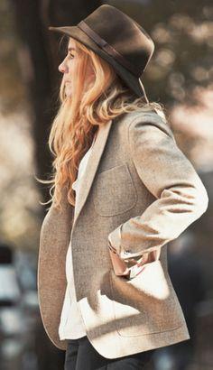 :=: structured Houndstooth jacket & flow-y silk top :=: