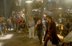 "Joss Wheedon blocking a shot with Nathan Fillion (Captain Malcolm ""Mal"" Reynolds) on the set of ""Serenity""."