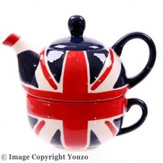 Ceramic Union Jack Tea for 1 Teapot and Cup Set