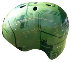 Feel electric on your bicycle with this circuit board design. All of our helmet designs are one-of-a-kind, hand-painted with ink and acrylics, and sealed with a
