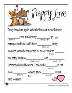 Valentine Mad Libs Valentines Mad Lib - Puppy Love – Classroom Jr.