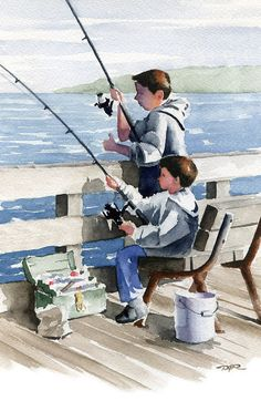 BROTHERS FISHING Art Print Signed by Watercolor by k9artgallery, $12.50