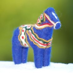 Felted wool Dala horse. much trickier to make than it appears but oh-so-adorable!