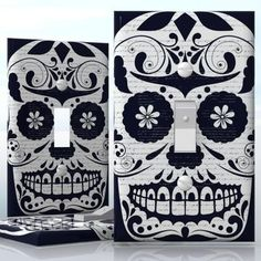 DIY Do It Yourself Home Decor - Easy to apply wall plate wraps | Black & White Sugar Skull #2  Skull with flowers  wallplate skin sticker for 1 Gang Toggle LightSwitch | On SALE now only $3.95