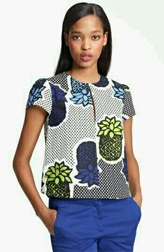 Moschino Cheap & Chic Pineapple Print Blouse available at African Print Dresses, African Fashion Dresses, African Attire, African Wear, African Dress, African Prints, African Inspired Fashion, African Print Fashion, Africa Fashion