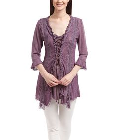 Look what I found on #zulily! Mauve Lace-Up Linen-Blend Top #zulilyfinds