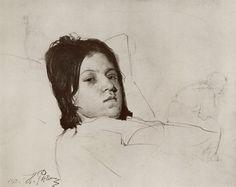 geritsel:  Ilya Repin - portrait study of a reclining womanIlya Repin (Rus. 1844-1930)