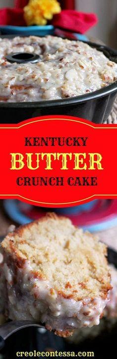 Kentucky Butter Crunch Cake-Creole Contessa by caroline Just Desserts, Delicious Desserts, Dessert Recipes, Yummy Food, Apple Bundt Cake Recipes, Almond Pound Cakes, Louisiana Crunch Cake, Kentucky Butter Cake, Bunt Cakes