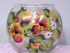 Glass Vase or Candle Holder with Hand Painted Pansies