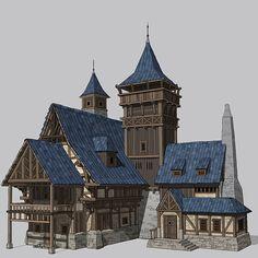 House concept art by hahi YU on ArtStation. – House concept art by hahi YU on ArtStation. Fantasy Town, Fantasy House, Medieval Fantasy, Fantasy Village, Detail Architecture, Concept Architecture, Classical Architecture, Environment Concept Art, Environment Design