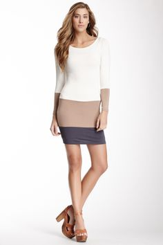 American Twist Colorblock Panel Knit Dress