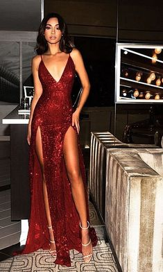Charming Burgundy V Neck Sequins Slit Backless Long Prom Dress 0902 by RosyProm, $175.99 USD