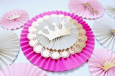 Paper Rosettes - Paper Fans - Paper Pinwheels - Pink and Gold Princess Party - Pinwheel Backdrop - Baby Shower Decorations - Ballerina Princess Party Decorations, Baptism Decorations, Birthday Decorations, Baby Shower Decorations, Pinwheel Decorations, Ballerina Baby Showers, Baby Shower Princess, Ballerina Party, Princess Birthday