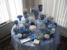 One of my favorite candy buffet table blue and white