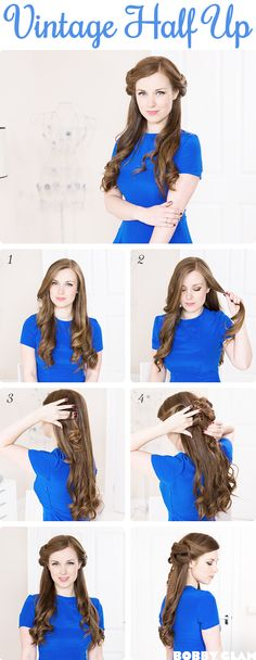 Vintage Half Up Hair easy tutorial, looks really pretty in the back and a great video teaching to to curl with a straightener