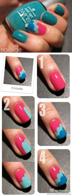 Turquoise + Blue + Pink + Light Pink Accent Nail Mani #Clouds #Nails #Manis…