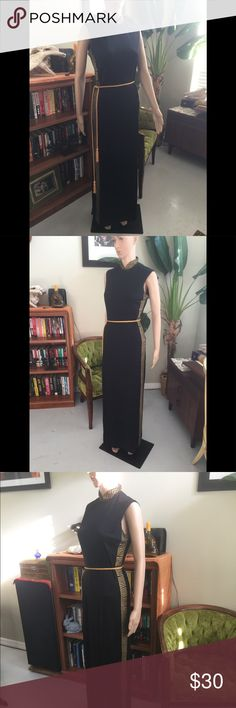 Vintage 70s Alfred Shaheen Cleopatra Maxi Dress Vintage 60s- 70s Alfred Shaheen Cleopatra Maxi Dress. Black with Gold Detailing on the Sides and Collar. Gold Braided Belt. Measurements Shown in Photos. Authentic Original Vintage Style Dresses Maxi