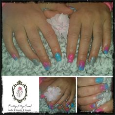 Pink and Blue ombré set with tips ❤ ❤ ❤ Blue Ombre, Nails, Pretty, Pink, Finger Nails, Ongles, Pink Hair, Nail, Roses