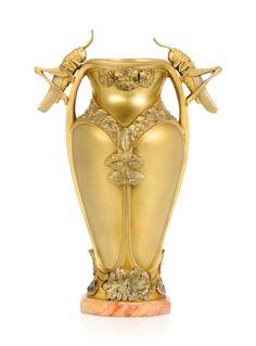 A.M. Paignant gilt bronze vase, c. 1900