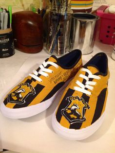 Hufflepuff hand painted shoes on Etsy