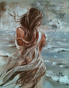 """Buy """" WINDY ... """" original painting sea lake autumn palette knife GIFT, Oil painting by Monika Luniak on Artfinder. Discover thousands of other original paintings, prints, sculptures and photography from independent artists."""
