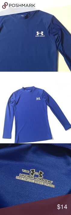 Royal Blue Under Armour Long Sleeve Compression Logo on chest and back. Youth large. In excellent condition. Athletic shirt. Sports  *15% off bundles (you may bundle items from this closet & my women's closet @poshmishmosh) *No trades *Feel free to make an offer *Happy poshing 😊 Under Armour Shirts & Tops Tees - Long Sleeve