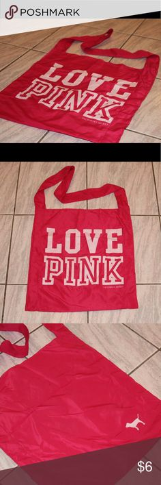 Love Pink tote Sheer fabric Victoria's Secret Pink tote. Long strap. Great for the beach. Minor stain on back. PINK Victoria's Secret Bags Totes