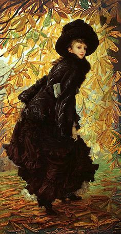 "James Tissot ""October"" 1877    Updated higher quality, fuller image.    James Jacques Joseph Tissot (1836-1902) was a French painter, who spent much of his career in Britain. Tissot exhibited in the Paris Salon and was friends with Edgar Degas and James Whistler.    Oil on canvas  In the collection of Montreal Museum of Arts (Montreal, Canada)"