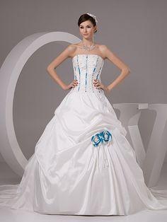 Marena - palloncino senza spalline abito da sposa in taffeta con applique