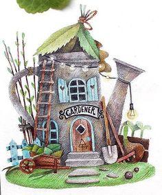 "1,252 Me gusta, 40 comentarios - Tonia Tkach (@tonia_tkach) en Instagram: ""Картинка про весну, сад, первые листочки и прошлогодние листья, семена и саженцыРисовала еще в… House Illustration, Watercolor Illustration, Watercolor Landscape, Watercolor Paintings, Cartoon House, Art Journal Techniques, Garden Painting, Cute Drawings, Painting Inspiration"