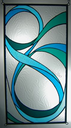 """""""Ribbons I - variation 2"""" stained glass panel (vertical) - Maid on the Moon Studio"""