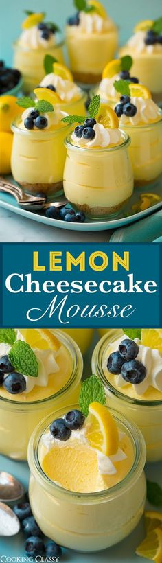 Cheesecake Mousse - Cooking Classy Lemon Cheesecake Mousse - the ULTIMATE spring dessert! These are to die for! No one can stop at one bite!Lemon Cheesecake Mousse - the ULTIMATE spring dessert! These are to die for! No one can stop at one bite! Spring Desserts, Mini Desserts, Delicious Desserts, Party Desserts, Pudding Desserts, Easy Picnic Desserts, Easy Lemon Desserts, Lemon Recipes Easy, Light Summer Desserts