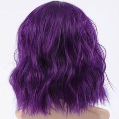 Halloween Purple Short Wavy Wigs