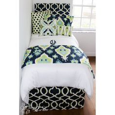 Neon Lime & Navy Blue Designer Bedding Set . Designer headboard, custom pillows, exclusive bed scarf, window panels, wall art, bed skirts, tein/queen/king duvet and custom monogramming!! Perfect for college, apartment, or teen bedding!!