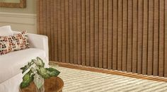 Somner Custom Vertical Blinds - I think these are Hunter Douglas. Contemporary Vertical Blinds, Office Blinds, Hunter Douglas, Sliding Glass Door, Bay Window, Curtains, Furniture, Color, Home Decor