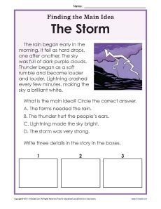 or Grade Main Idea Worksheet about Storms After reading a brief passage about storms, students are prompted to write the main idea and 3 details.After reading a brief passage about storms, students are prompted to write the main idea and 3 details. Reading Strategies, Reading Skills, Guided Reading, Teaching Reading, Teaching Main Idea, Close Reading, Kindergarten Reading, Preschool Kindergarten, Kids Reading