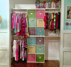 DIY your own closet organizer for a kid's room. Use cube organizers and fabric bins like drawers. Can change the configuration as the kids grow.