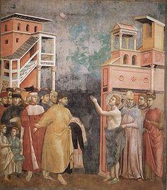 Giotto: Fresques de la vie de saint François à Assise , St François renonçant à ses biens malgré la colère de son père, et se réfugie dans les bras de l'évêque Guide - Giotto travailla probablement en 1298 au cycle de la Légende de st François qui comprend 28 panneaux ornant la nef de l'église supérieure de St-François d'Assise. Exécutées avec l'aide de ses élèves (dont certains sont identifiés, tel le Maitre de Ste-Cécile), les fresques portent toutes l'empreinte du génie de l'artiste…