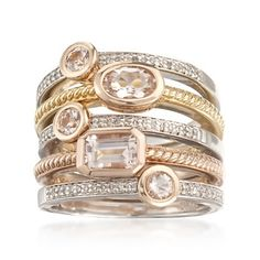 Set of Five 1.10 ct. t.w. Morganite and .20 ct. t.w. Diamond Rings in 18kt Tri-Colored Gold Over Sterling
