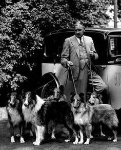 Colonel Wilberforce and his Dellwood rough collies, 1937. #collie
