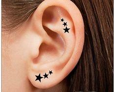 DRESS UP! Temporary Tattoo 12 Star Ear Tattoos Finger Tattoos
