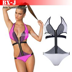 Pin Up Push Up One Piece Swimsuit Swimwear Women Bathing Suit Cut Out One Piece Swimsuit Saida De Praia #sexy #swimwear #woman  Buy For $12.15