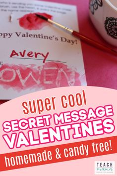 Kids will love how incredibly cool, creative and unique these secret message Valentines are! And guess what? They're candy-free valentines! Make sure you and your child try out these secret message Valentines. They're perfect for a Valentine's Day classroom party! #valentinesday #classroom #party #valentine #kidsactivities #kidscrafts #holiday #funforkids Valentines Day Activities, Valentine Day Crafts, Activities For Kids, Classroom Activities, Learning Activities, Classroom Ideas, Secret Valentine, Valentine Day Special, Valentine's Day Crafts For Kids