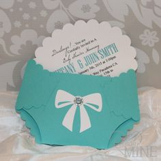 Tiffany & Co. Inspired Diaper Invitations  Set of by LovinglyMine, $25.00
