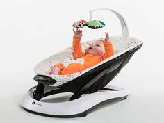 The 4moms bounceRoo weighs in at less than 6 lbs! This lightweight baby bouncer features three vibration modes and three intensity settings.