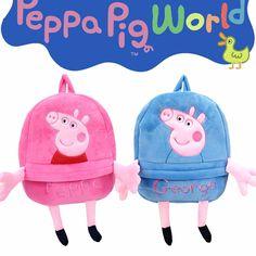 0eb009e69c Genuine Peppa Pig George Pig Plush Toys Kids Girls Boys Kawaii Kindergarten  Bag Backpack School Bag Dolls gift for the children